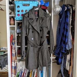 Women's Gray and Brown Yoki New York Pea Coat